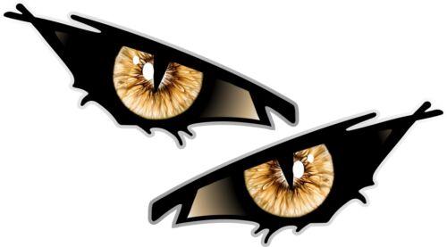 Pair Of EVIL Eyes Eye BLACK IRIS car Motorbike Helmet Drone Quad Sticker 70x35mm