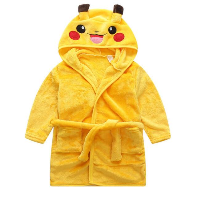 Pokemon Boy Girl Kids Dressing Gown Bathrobe Warm Pikachu Robe Soft ...