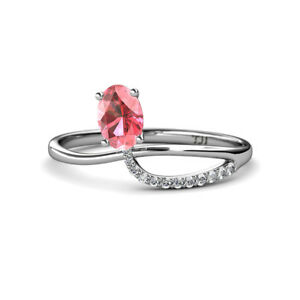 062c7a9badee3 Details about Oval Cut Pink Tourmaline and Diamond Promise Ring 0.57 ctw  14K Gold JP:166528