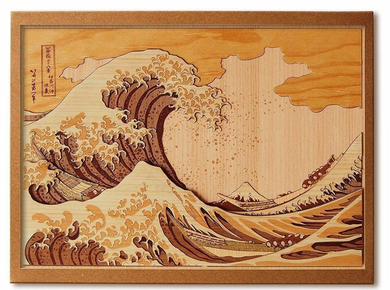 Wood Collage Handmade Kit Fugaku Sanjurokkei Hokusai Toyako Wood Craft F/S