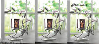3 Purple Glass Butterfly Flower Candle Holder Wedding Table Party Centerpiece