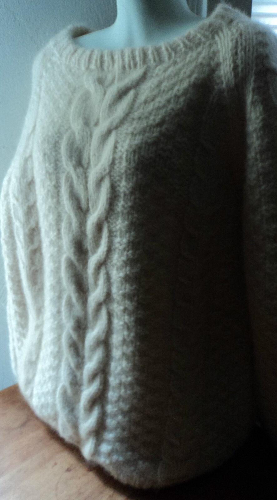 Designer_Handknit_Fisherman_CABLE_Wide CREW Collar_ Wool Sweater_Ivory_Unisex L