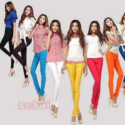 Korean Womens Trendy Candy Color Pencil Pants Skinny Leggings Stretch Trouser