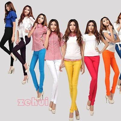 Korean Womens Trendy Candy Color Pencil Pants Skinny Leggings Stretch Trouser
