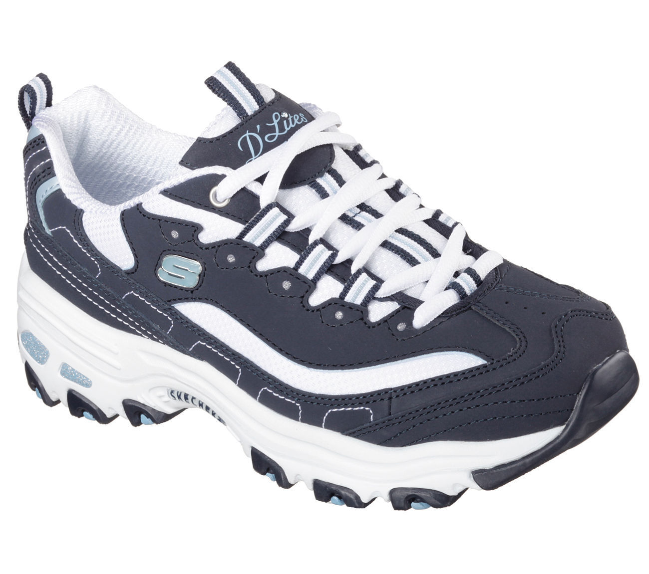 11930 NVW Navy White Dlites Skechers Shoes Womens Casual Memory Foam Sneaker New