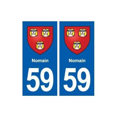 59 Nomain blason autocollant plaque stickers ville arrondis