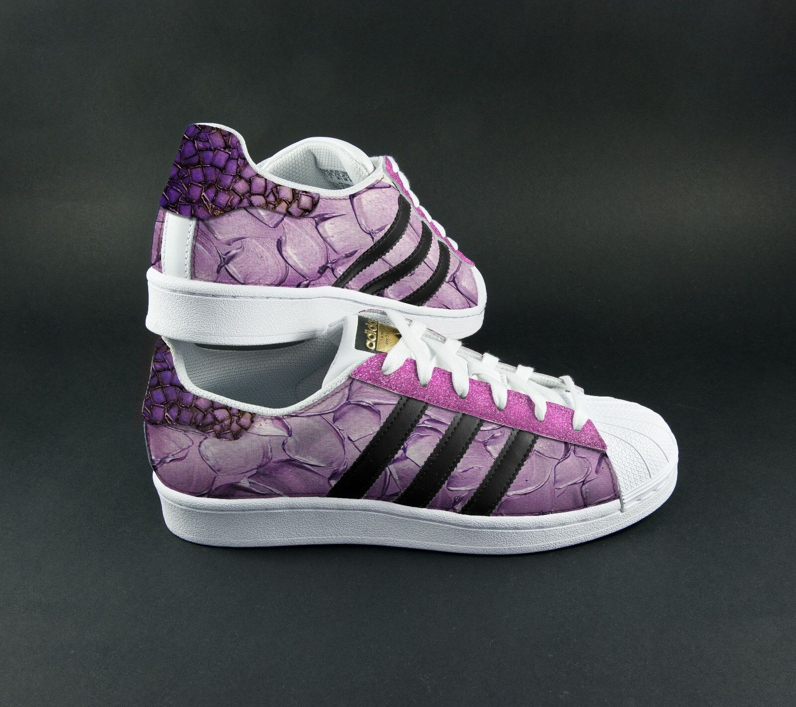 zapatos adidas superstar con glitter serpentato e pitonato piu' glitter con rosadodo 8b0f0b