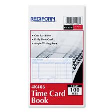 """Rediform Time Clock Cards 1 Part 4k406 7/"""" X 4.25/"""" Sheet Size - Gummed"""
