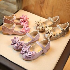 Child-Kids-Girl-Bowknot-Party-Wear-Princess-Shoes-Shiny-Leather-Moccasins-AU
