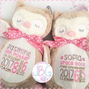 Personalised baby owl teddy bear giftembroidered birthday image is loading personalised baby owl teddy bear gift embroidered birthday negle Choice Image