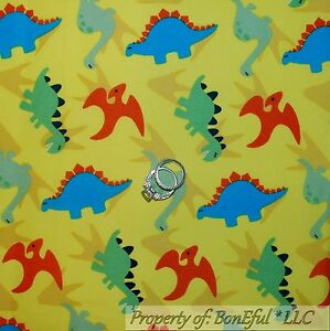 Boneful fabric fq cotton quilt yellow blue bright dinosaur for Yellow nursery fabric