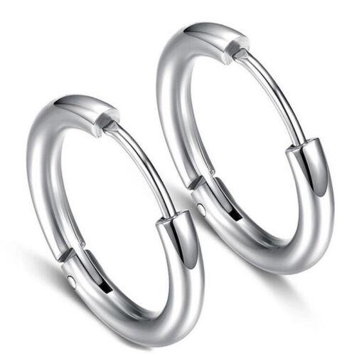 Stainless Steel Hoop Circle Studs Ear Earrings Gothic Punk Women Men Jewelry