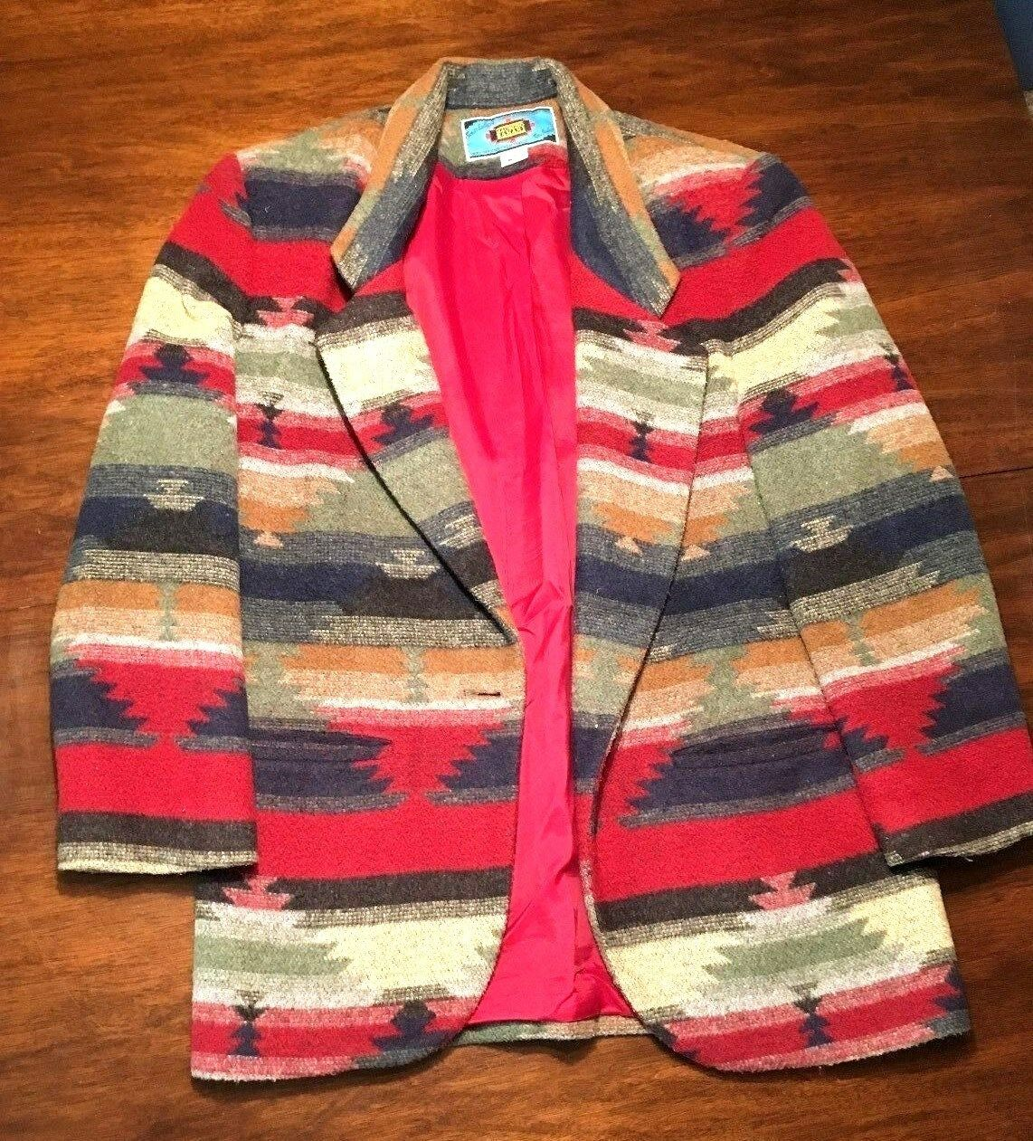 Maurizio Ramani Aztec Tribal Native Pattern Wool Blend Coat Made Made Made USA Women's Red b9c364