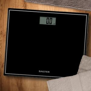 Salter Digital Black Bathroom Scales Compact Glass Profile Body Weighing 9207