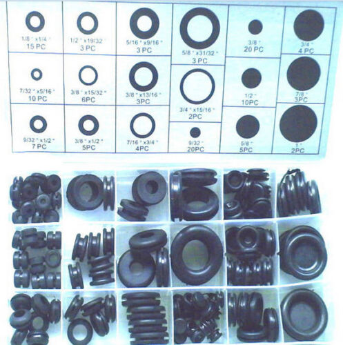 3.5-25mm Rubber Blanking Closed Wiring Open Grommets Assorted Box - pack of 125