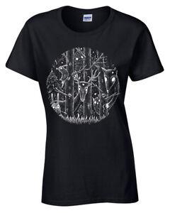 Bosque-Oscuro-T-Shirt-Mujer-Fantasy-Alice-senoras-Goth-Tim-Burton-magico-Gotico