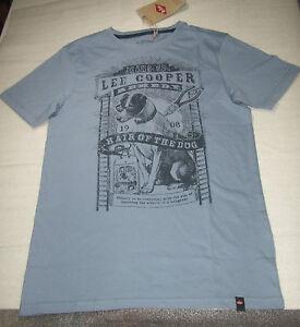 LEE-COOPER-T-SHIRT-MANCHES-COURTES-GARCON-14-ANS-164-CM-BLEU-GRISE