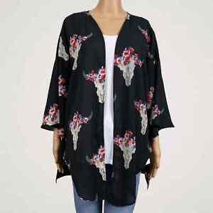 Peach Love CA Southwestern Cow Skull Floral Kimono Jacket LARGE Black Red Blue