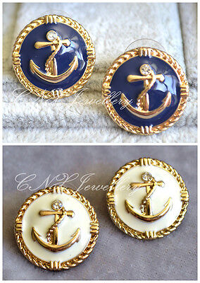 Celeb Style White Blue Gold Anchor Round Button Rhineston Earrings Studs