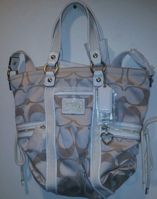 19ad008cd6db closeout new coach khaki white cream brown tote handbag 3f161 07055