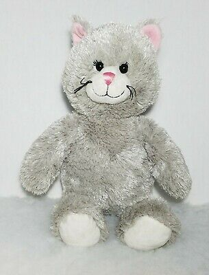 "16/"" BABW Gray Cat Plush Build A Bear Kitty Cat Kitten Pink Grey Unstuffed Plush"