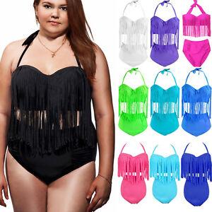 e9716a336b Plus Size Women Halter Tassel High Waisted Push Up Swimwear Bikini ...