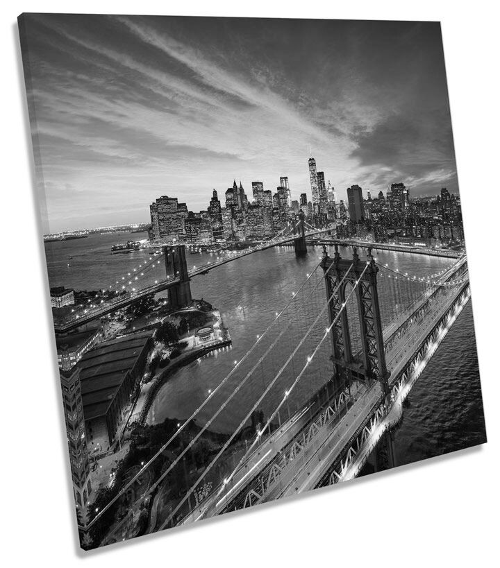 New York Brooklyn Bridge City B&W CANVAS WALL ART SQUARE Picture Print