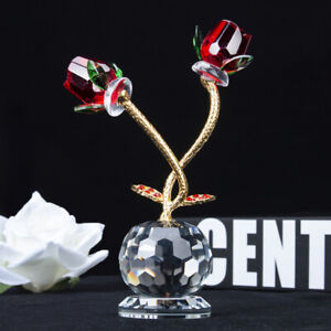 Crystal-Cut-Glass-Two-Red-Roses-Figurines-Ornaments-Valentine-Gift-Home-Decor