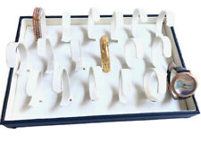 White Amp Blue Faux Leather Watch Bracelet Jewelry Display Holder Showcase Tray