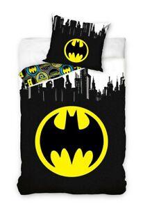 Batman-Set-Cama-Simbolo-Murcielago-Logo-Redondo-Funda-Nordica-140x200cm-Almohada