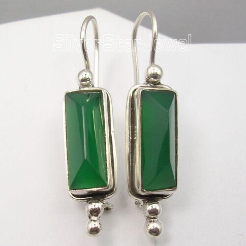 Green Green Onyx Dangle Earrings New Wholesale Jewelry 925 Sterling Silver
