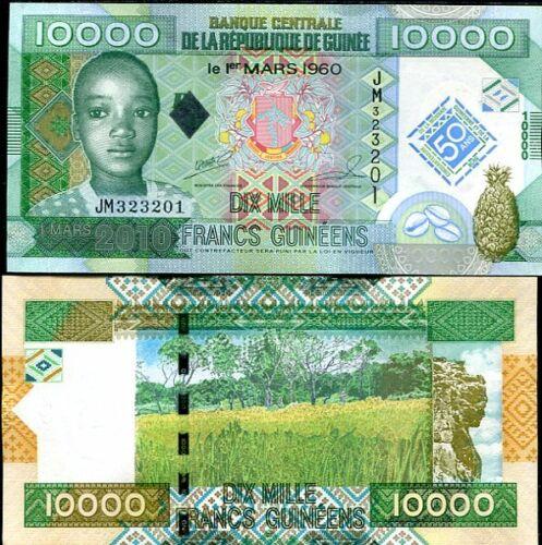 GUINEA 10,000 10000 FRANCS 2010 COMM 50TH P 45 UNC