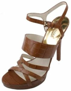 Michael-Kors-Nadja-Platform-Women-039-s-Walnut-Embossed-Leather-Dress-Heels-sz-11