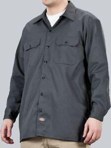 Dickies-Hemd-Longsleeve-Work-Shirt-Hemd-Charcoal-dunkelgrau-Gr-S-4XLT-44-70