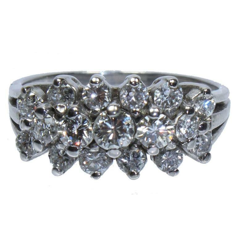 DIAMOND Ring with Three Rows of 14 Karat White Gold Size 5 1/2