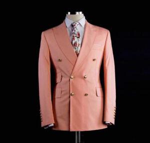 Double-Breasted-Groomsmen-Peach-Groom-Tuxedos-Peak-Lapel-Men-039-s-Wedding-Suits