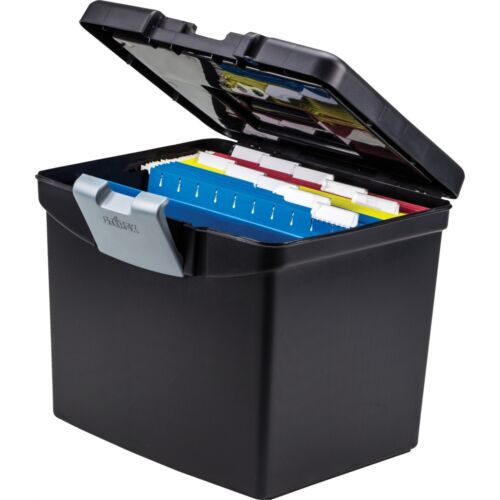 Storex Portable File Box with XL Lid 11 x 13-1//2 x 11 Inches Black