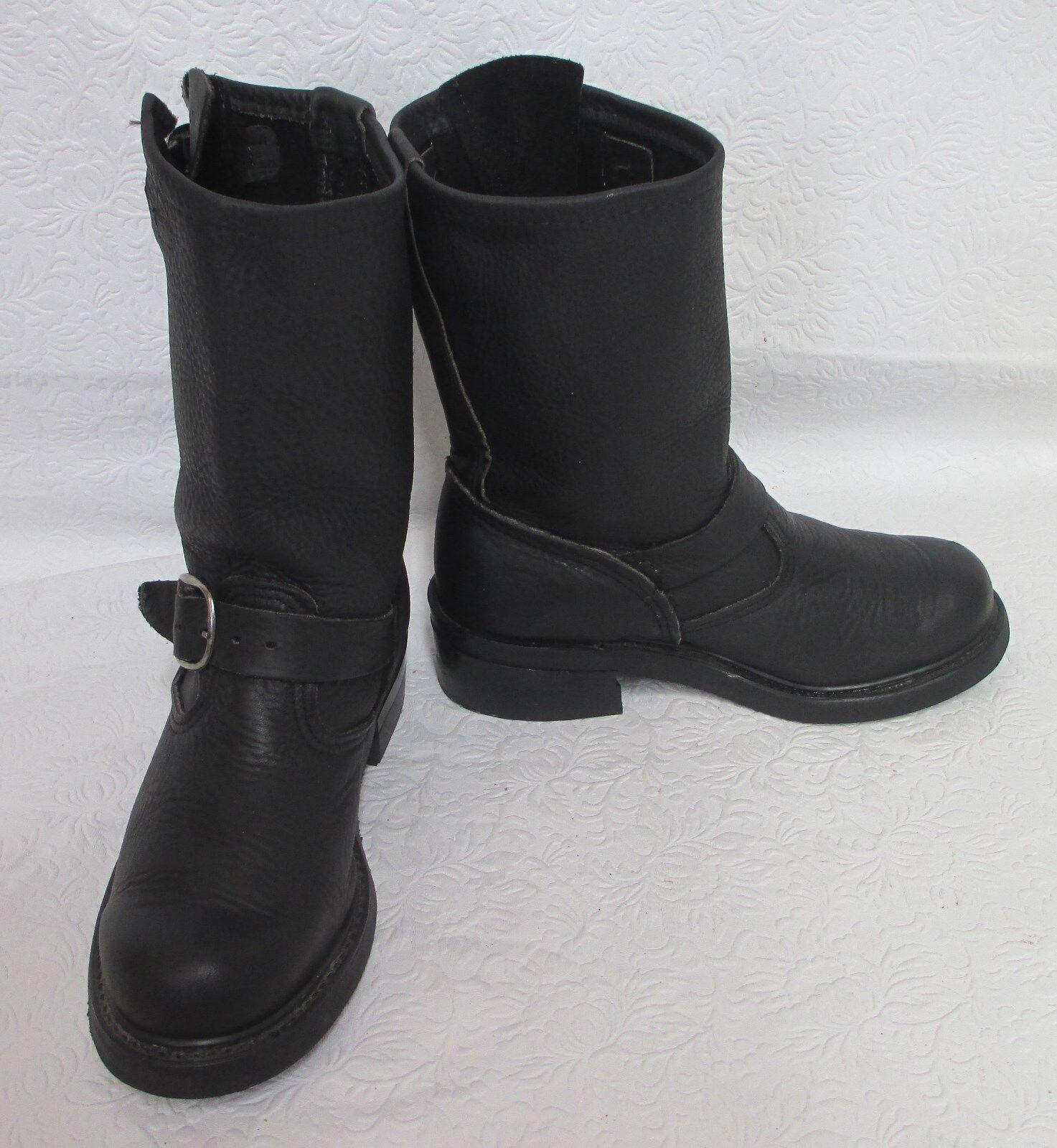 Para mujeres cuero con guijarros ingeniero Motocicleta Negro botas De Montar M