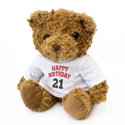 NEW - HAPPY BIRTHDAY 21 - Teddy Bear - Cute And Cuddly - 21st Gift Present