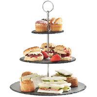 VonShef 3 Tier Slate Cake Display Stand Food Cheese Dessert Serving Platter