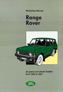 rangerover range rover classic 1987 1988 1989 1990 1991 service workshop shop repair manual