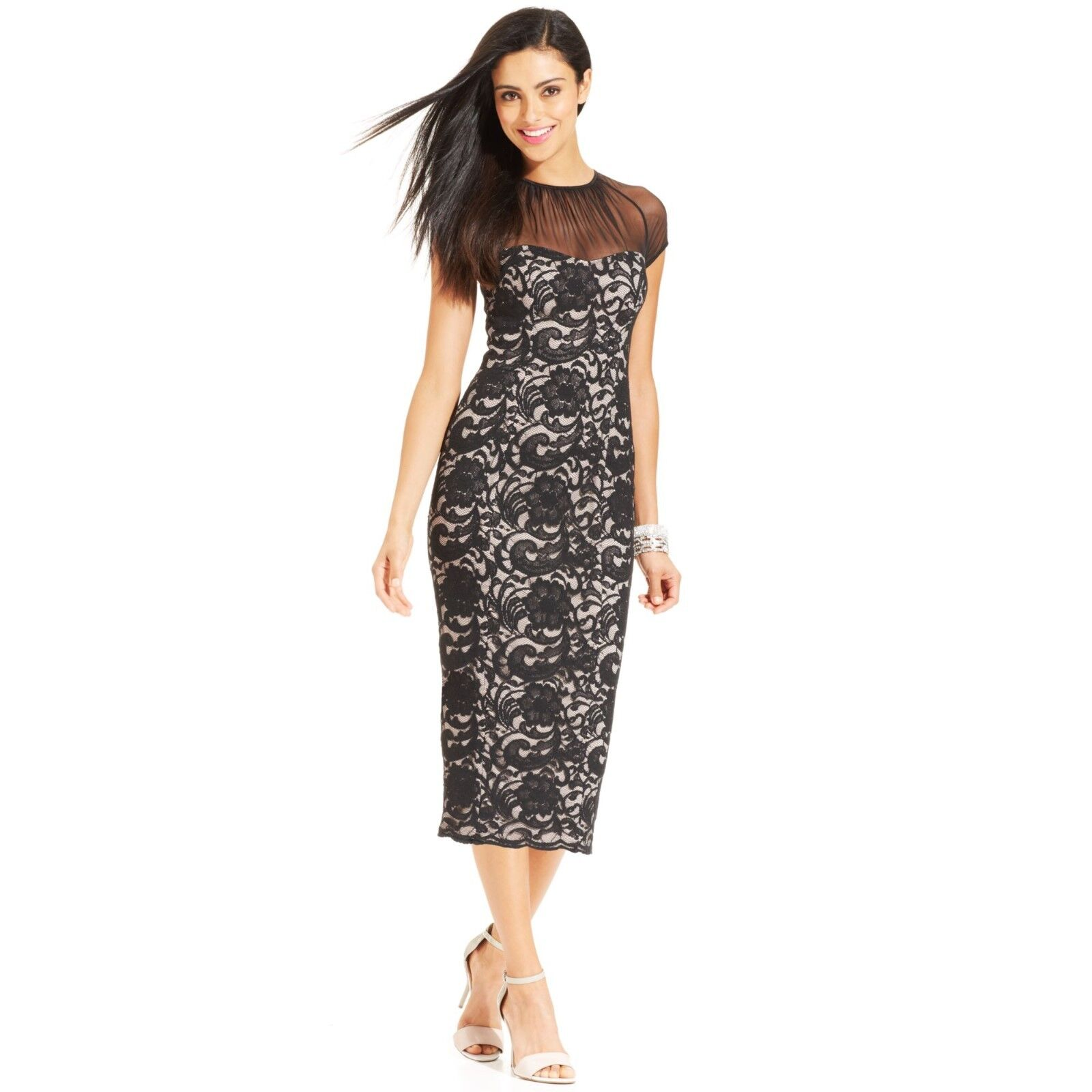 Maggy London Capsleeve Illusion Contrast lace Dress  ( size 8)