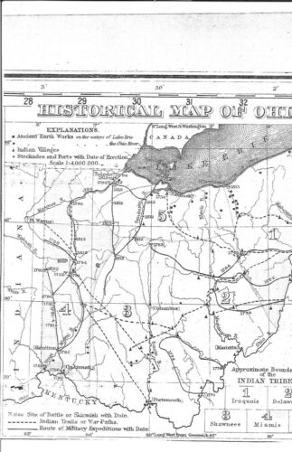 1877 OHIO RAILROAD MAP Bethel Blanchester Bluffton Bolindale Ancient tribes HUGE