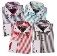 Men's Stylish Fashion Stripe Dress Shirt Unique Design Aqua, Black, Red, Blue