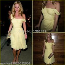 TOPSHOP KATE MOSS YELLOW ONE SHOULDER CHIFFON PARTY DRESS SIZE UK12/EUR40/US8