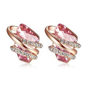 Leafael-034-Wish-Stone-034-Swarovski-Crystal-18K-Rose-Gold-Plated-Light-Pink-Earrings
