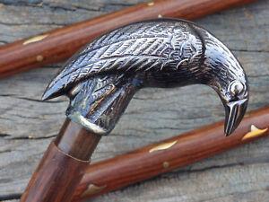 MotivéE Antique Designer Brass Crow Head Poignée Victorien Canne En Bois Bâton De Marche Cadeau-afficher Le Titre D'origine