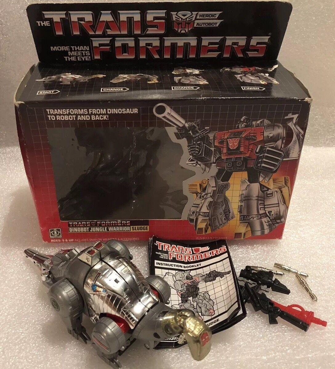 Transformers G1 Dinobot Sludge w Weapons Original scatola uomoual