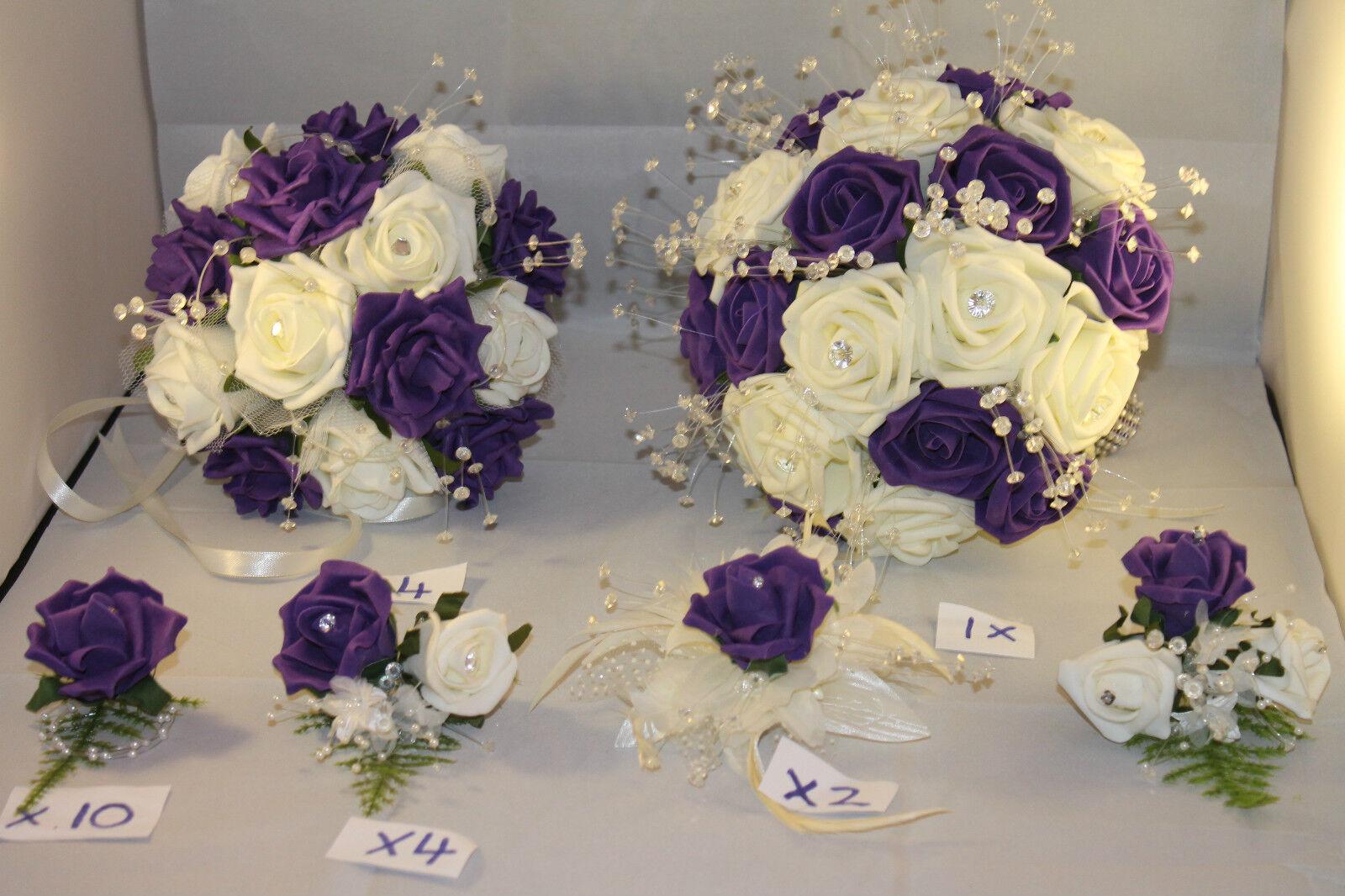 Mariage bouquets boutonnières Corsage Paquet Violet & Ivoire  22 Pièces