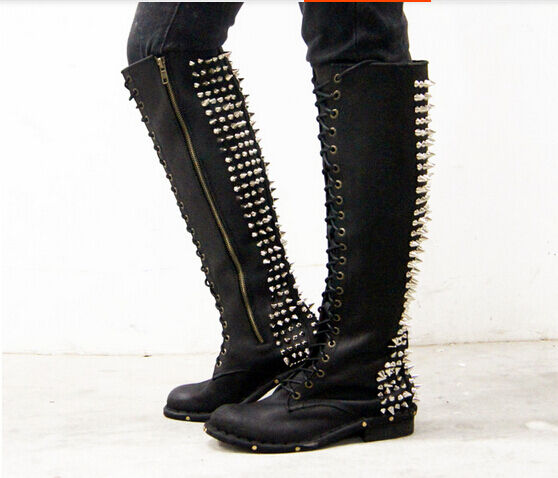 femmes Punk Spike Lace Up Side Zipper Motor Biker Combat Knee High bottes chaussures